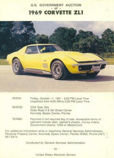 1969 Chevrolet Corvette ZL1 GSA Sale Poster TCB