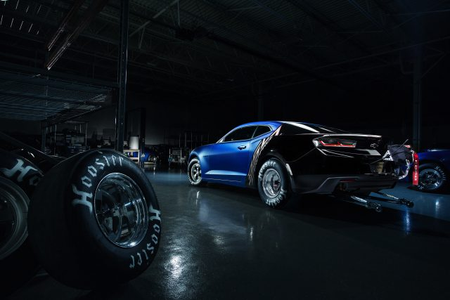 "Chevrolet's 2017 COPO Camaro show car – serial number 01 of 69 –features a supercharged 350 engine, custom Weld racing wheels and a unique, ""anodized"" concept version of the production Hyper Blue Metallic exterior color. It will be sold at the Barrett-Jackson Scottsdale auction in January 2017, with proceeds to benefit United Way."